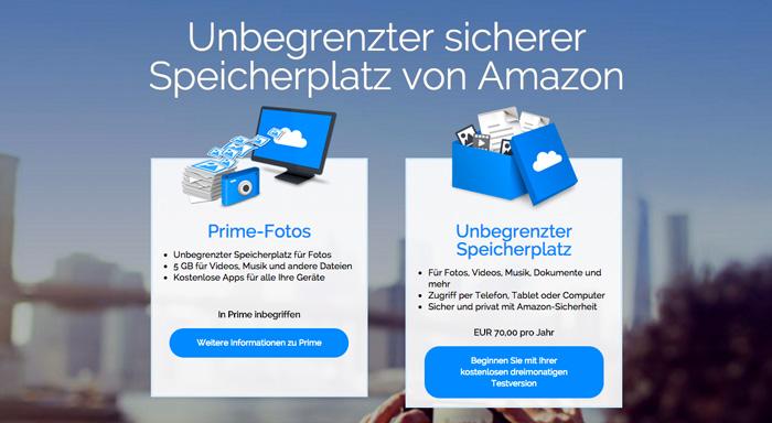 Amazon Cloud mit unbegrenztem Speicher für 70 Euro
