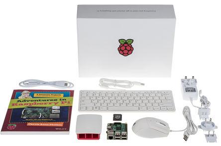 Raspberry Pi Starter-Kit mit Buch, Gehäuse, Maus, Tastatur, SD-Karte und Netzteil