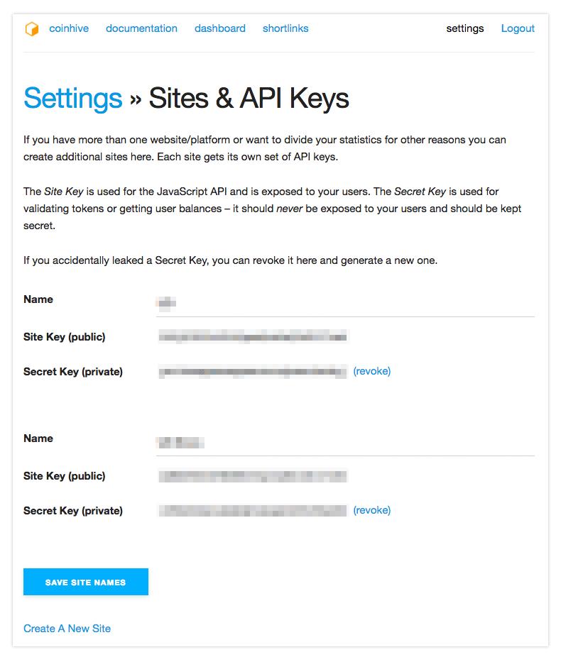 Coinhive API Keys