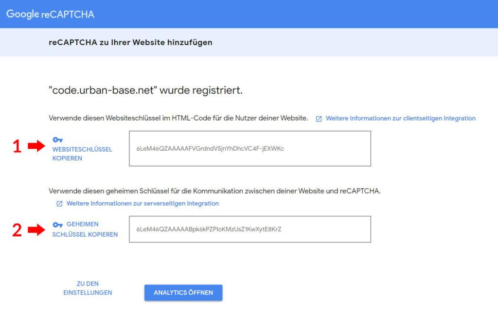 reCAPTCHA v3 Schlüssel, keys